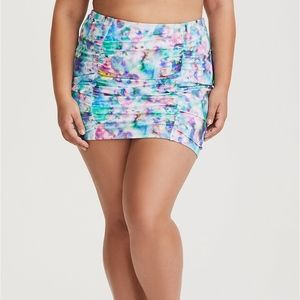 Torrid Watercolor High Waist Ruched Swim Skirt 0